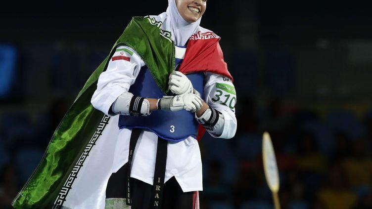 Kimia Alizadeh Zenoorin après sa médaille historique en Taekwondo (ROBERT F. BUKATY/AP/SIPA / AP)