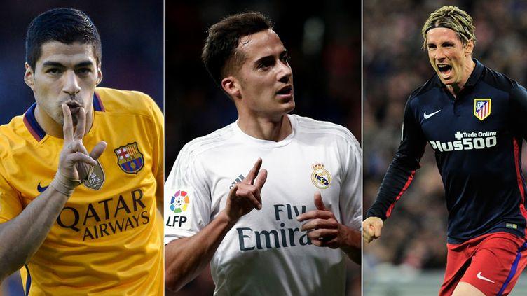 Luis Suarez, l'attaquant du Barca, Lucas Vazquez, l'ailier du Real et Fernando Torres, le buteur de l'Atletico