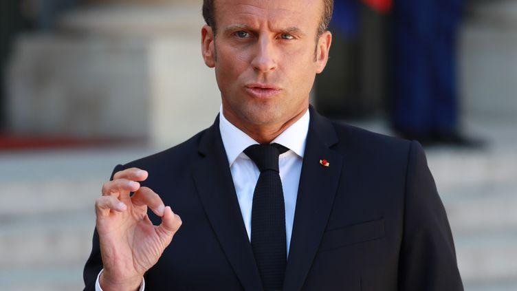 Emmanuel Macron lors d'une conférence de presse à l'Élysée, le 22 août 2019. (MUSTAFA YALCIN / ANADOLU AGENCY)