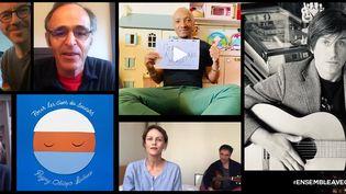 Captures d'écrans des chanteurs et chanteuses Vanessa Paradis, Soprano, Jane Birkin, Thomas Dutronc, Jean-Jacques Goldman (mars 2020) dans leurs publications sur les réseaux sociaux pour soutenir les personnels soignants (Captures d'écran)