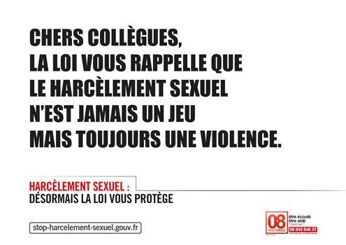 Une affiche contre le harcèlement sexuel au travail. (GOUVERNEMENT.FR)