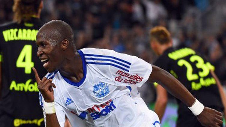 La joie du Marseillais Rod Fanni, après son but contre Nantes (ANNE-CHRISTINE POUJOULAT / AFP)