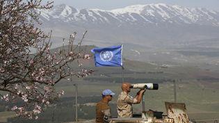 Des Casques bleus observent la frontière israélo-syrienne samedi 10 février 2018. (JALAA MAREY / AFP)