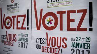 Une affiche de la campagne pour la primaire de la gauche. (PHILIPPE LOPEZ / AFP)