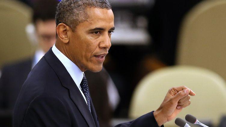 Barack Obama, le président des Etats-Unis, le 24 septembre 2013 au siège de l'ONU, à New York (Etats-Unis). (JOHN MOORE / GETTY IMAGES)
