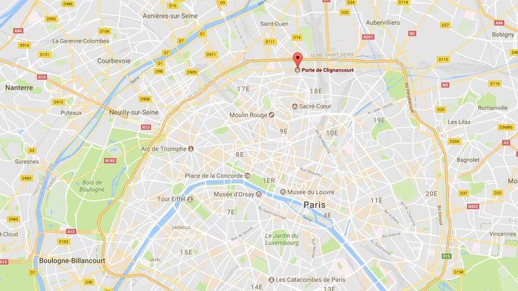 Un chauffarda été interpellé après avoir percuté un autre véhicule, le 20 août 2017, àproximité de la porte de Clignancourt, dans le 18e arrondissement de Paris. (GOOGLE MAPS)