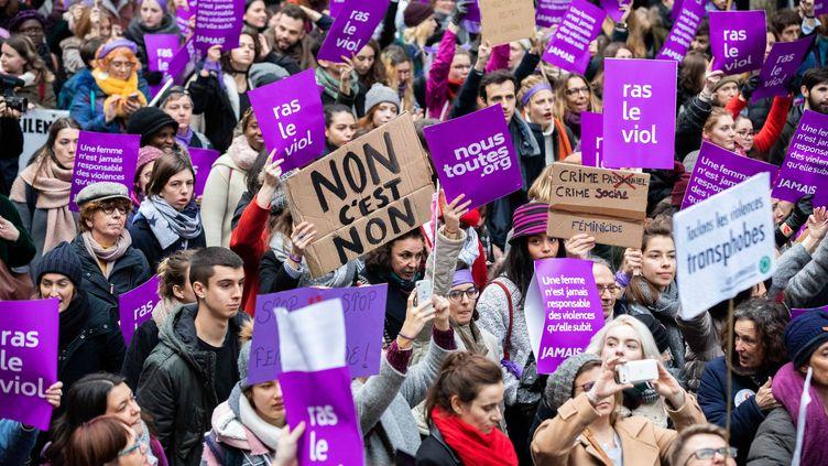 Pendant la manifestation contre les violences sexistes et sexuelles faites aux femmes, à Paris, le 24 novembre 2018. (CHRISTOPHE MORIN / MAXPPP)