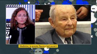 La fille d'une victime du Mediator, Lisa Boussinot, et Jacques Servier, fondateur du laboratoire qui commercialisait le médicament (FRANCEINFO)