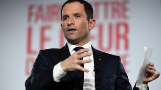 Le candidat à la primaire de la gauche, Benoît Hamon, à Montreuil (Seine-Saint-Denis), jeudi 26 janvier 2017. (STEPHANE DE SAKUTIN / AFP)