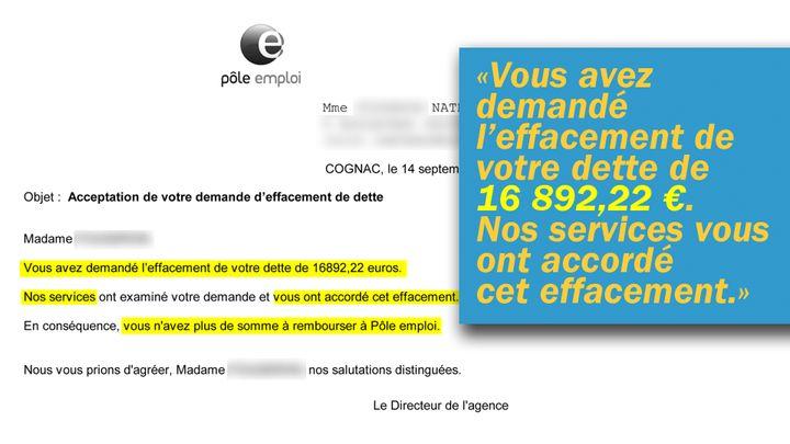 Mail de Pôle emploi reçu par Nathalie qui confirme l'effacement de sa dette. (Cellule investigation / Radio France)