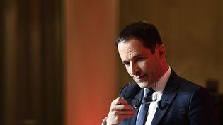 Le candidat à l'élection présidentielle Benoît Hamon, lors de sa défaite au premier tour, le 23 avril 2017. (MARTIN BUREAU / AFP)