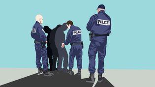 Illustration d'un contrôle de police. (VINCENT WINTER / FRANCEINFO)