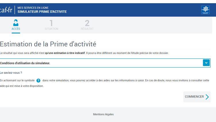 Capture d'écran du simulateur disponible sur www.caf.fr pour savoir si on peut bénéficier de la prime d'activité. (CAF)