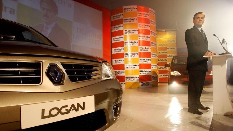 Carlos Ghosn, président du groupe Renault-Nissan, lors du lancement de la Logan à Bombay (Inde), le 3 avril 2007. (INDRANIL MUKHERJEE / AFP)