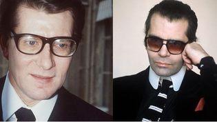 Yves Saint Laurent (à gauche) en 1984 et Karl Lagerfeld en 1979. (AFP)