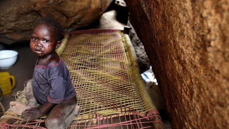 2 mai 2012. Un enfant pleure dans les rochers où il est abrité dans le village de Tess, dans la région des monts Nuba (Sud-Kordofan), au Soudan. Le territoire est aux mains des rebelles et les populations trouvent refuge dans les montagnes pour fuir les raids aériens de l'armée soudanaise.  (REUTERS/Goran Tomasevic)