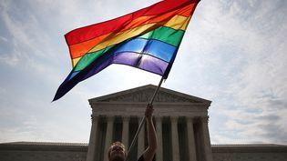 Un défenseur du mariage gay agite un drapeau arc-en-ciel devant la Cour suprême, à Washington, le 25 juin 2015. (MARK WILSON / GETTY IMAGES NORTH AMERICA / AFP)