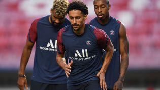 Eric Maxim Choupo-Moting, Marquinhos et Presnel Kimpembe à l'entraînement le 22 août 2020, à la veille dela finale de Ligue des Champions du PSG contre le Bayern Munich à Lisbonne. (DAVID RAMOS / AFP)