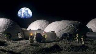 Le village lunaire imaginé par l'Agence spatiale européenne. (ESA)