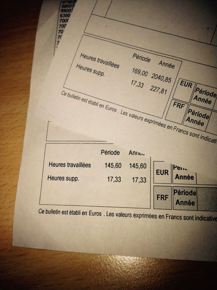 En haut, la fiche de paye de décembre 2014 d'Antoine comptabilisant 227,81 heures supplémentaires. En bas, celle de janvier 2015 n'en comptabilise plus que 17,33. (  FRANCETV INFO )
