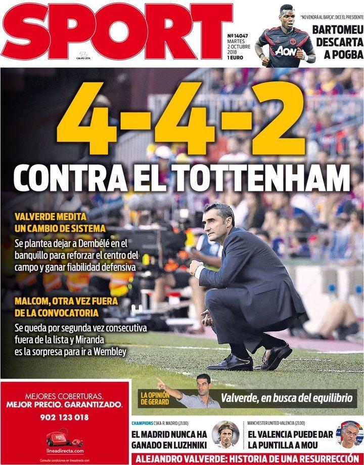 """La Une du quotidien espagnole """"Sport"""" mardi"""