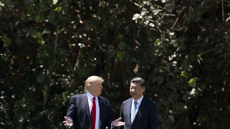 Le président américain Donald Trump et le président chinois Xi Jinping à Mar-a-Lago (Etats-Unis), le 7 avril 2017. (JIM WATSON / AFP)