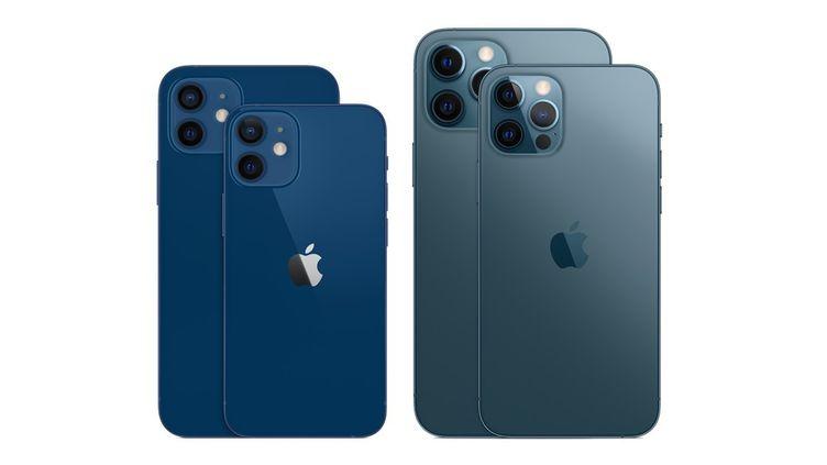 A gauche, l'iPhone 12 et le 12 Mini. A droite, les modèles haut de gamme et plus chers, iPhone 12 Pro et Pro Max. (APPLE)