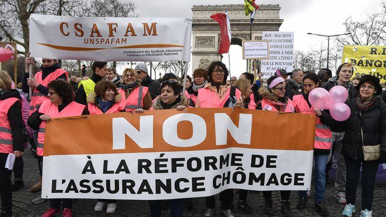 Manifestation contre la réforme de l'assurance chômage à Paris, le 9 mars 2019. (BERTRAND GUAY / AFP)