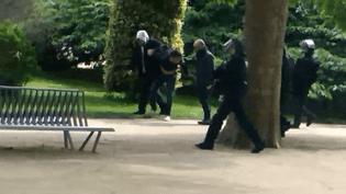 Dans une vidéo que franceinfo et Mediapart se sont procurée lundi 30 juillet, on peut voir deux hommes ressemblant fortement à Alexandre Benallaet Vincent Crase traînerun manifestant dans le Jardin des Plantes, à Paris, le 1er-Mai 2018. (DOCUMENT FRANCEINFO)