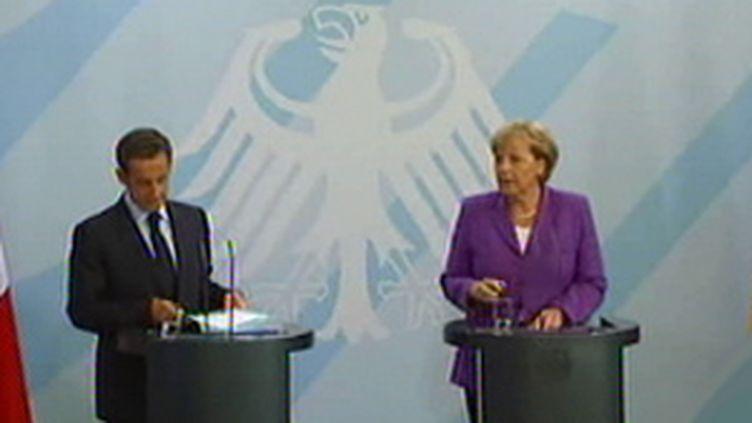 Nicolas Sarkozy et Angela Merkel le 31 août 2009 (France 2)