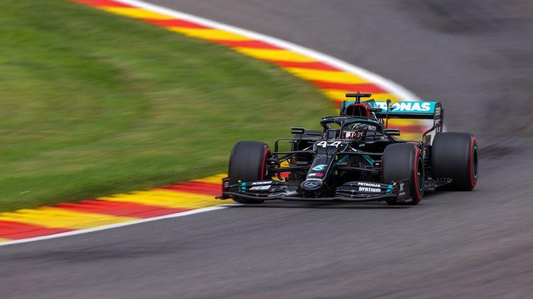 Lewis Hamilton (Mercedes) lors des qualifications du Grand Prix de Belgique. (LARS BARON / POOL)