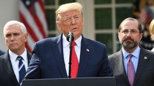 Donald Trump lors d'une conférence de presse sur le coronavirus Covid-19 à la Maison Blanche, à Washington (Etats-Unis), le 13 mars 2020. (SAUL LOEB / AFP)