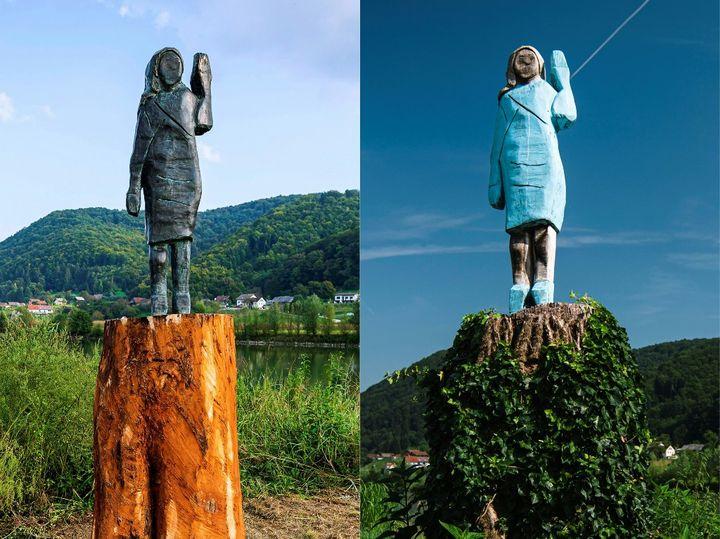 Les deux statues mises côte à côte : à gauche, le nouveau modèle installé cette année, à droite, le premier exemplaire en bois incendié en juillet dernier. (JURE MAKOVEC / AFP)