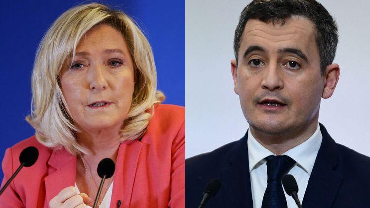 Marine Le Pen et Gérald Darmanin. (THOMAS SAMSON / MARTIN BUREAU / AFP)