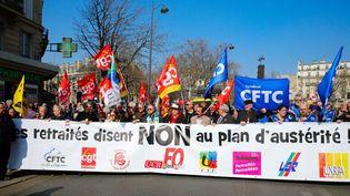 Manifestation de retraités contre le gel des pensions,le 17 mars 2015 à Paris. (JALLAL SEDDIKI / CITIZENSIDE / AFP)