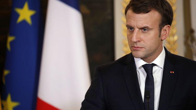 Le président Emmanuel Macron à l'Elysée, le 22 novembre 2017. (PHILIPPE WOJAZER / AFP)