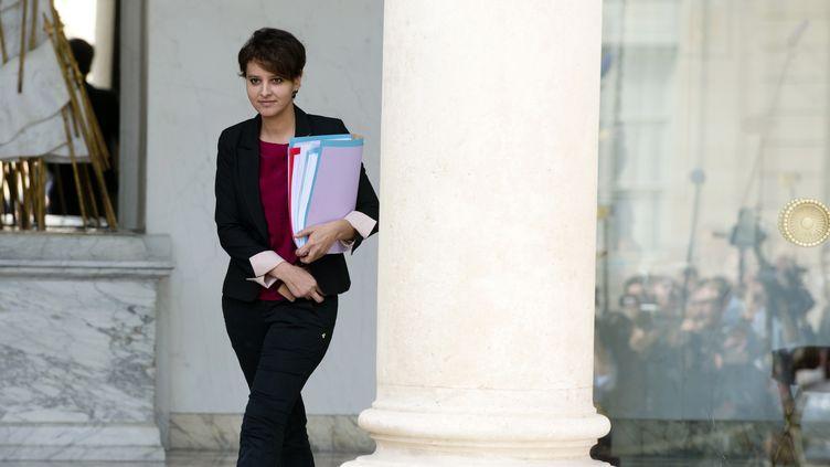 Najat Vallaud-Belkacem à la sortie du conseil des Ministres, mercredi (ALAIN JOCARD / AFP)
