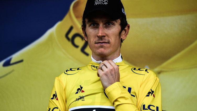 Le maillot jaune Geraint Thomas, le 25 juillet 2018, à Saint-Lary-Soulan. (JEFF PACHOUD / AFP)