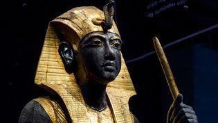 L'exposition Toutânkhamon à la Grande Halle de la Villette, statue de gardien du tombeau  (photo Vincent Nageotte)
