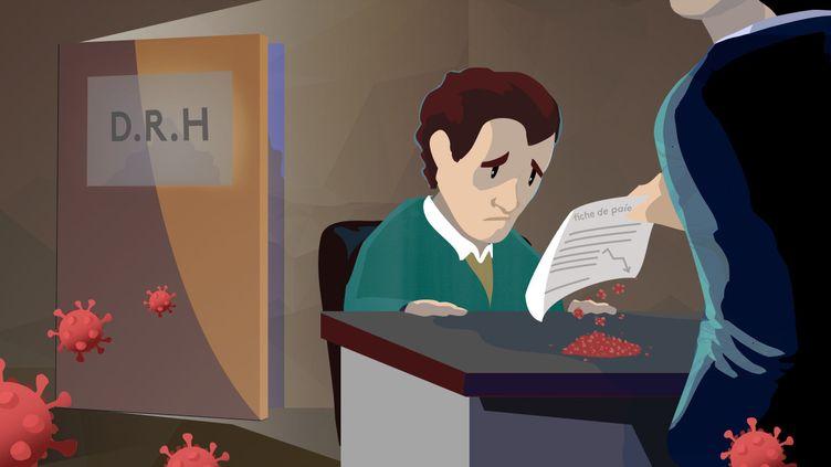 Illustration d'un salarié à qui on propose une baisse de rémunération en raison de la crise économique liée au coronavirus. (FRANCEINFO / PIERRE-ALBERT JOSSERAND)