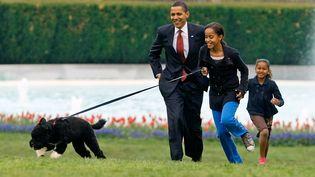 14 avril 2009. Malia, Sasha et Barack Obama présentent leur nouveau chien, Bo. (CHIP SOMODEVILLA / GETTY IMAGES NORTH AMERICA)