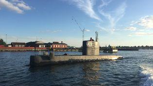 """Le sous-marin artisanal """"UC3 Nautilus"""", à Copenhague (Danemark), le 11 août 2017. (ANDERS VALDSTED / SCANPIX DENMARK)"""