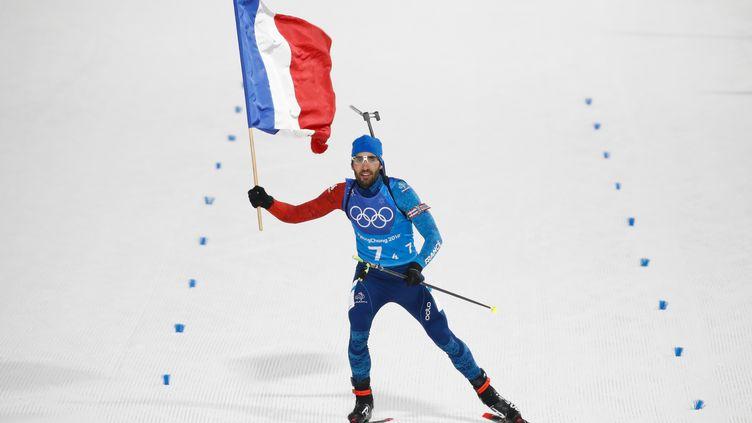 Le biathlète français Martin Fourcade, le 20 février 2018, lors des Jeux olympiques d'hiver de Pyeongchang (Corée du Sud). (ODD ANDERSEN / AFP)