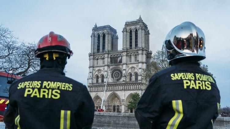 Des pompiers observent l'intervention de leurs collègues, le 15 avril 2019, à Notre-Dame de Paris. (DENIS MEYER / HANS LUCAS / AFP)