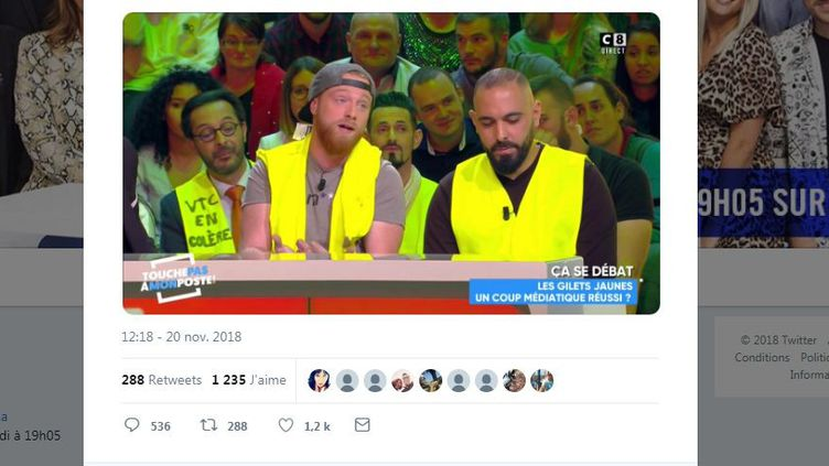 """Cyril Hanouna a proposé aux représentants des """"gilets jaunes"""" présents sur le plateau de """"TPMP"""" mardi 20 novembre de devenir leur porte-parole. (TPMP / TWITTER)"""