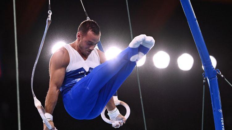 Samir Aït Saïd lors des qualifications olympiques aux anneaux, le 24 juillet 2021. (LOIC VENANCE / AFP)