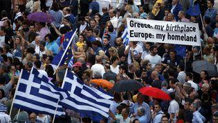 """Manifestation en faveur du """"oui"""" au référendum à Athènes (Grèce) le 30 juin 2015. (JEAN-PAUL PELISSIER / REUTERS )"""