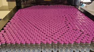 Des flacons du vaccin contre le Covid-19 de Pfizer-BioNTech sur une ligne de production de l'usine Delpharm de Saint-Rémy-sur-Avre (Eure-et-Loir), le 7 avril 2021. (DELPHARM)