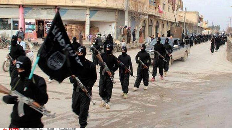Des soldats du groupe terroriste Etat islamique défilent à Raqqa (Syrie) (photo postée sur internet par un militant de Daech, le 14 janvier 2014). (UNCREDITED / AP / SIPA)