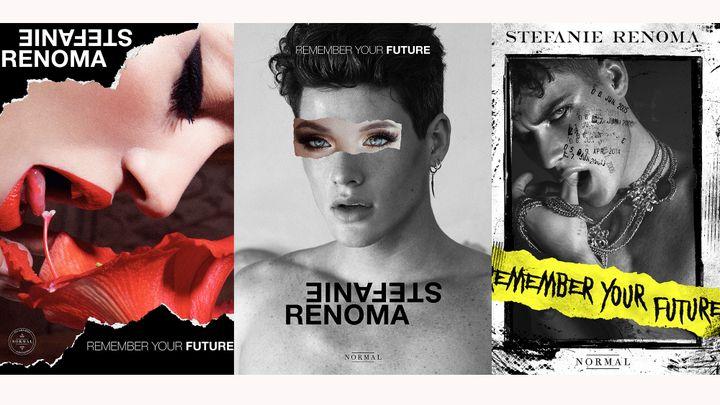 """Trois des quatre couvertes dulivre""""Stefanie Renoma. Remember your future"""" auxéditions Normal -Incarnatio (Stefanie Renoma)"""
